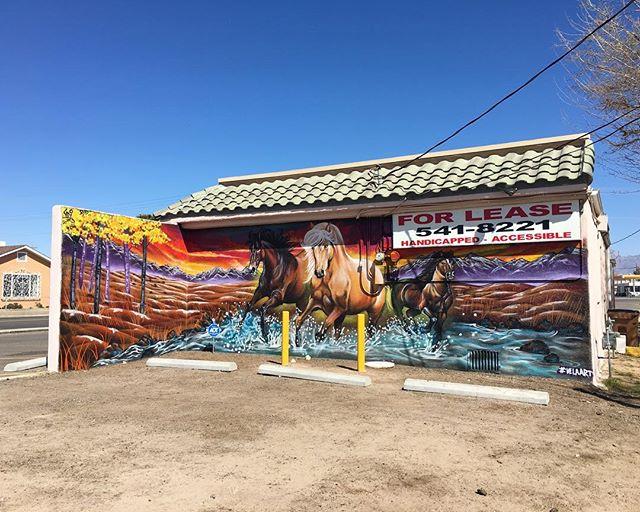 New mural by @velaart on 1140 E. Idaho. 🐴 #muralsoflascruces #putamuralonit #muralhunter #lascruces #newmexico #publicart #murals