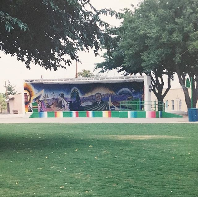 A mural from the late 90s located in Klein Park, Mesquite neighborhood. Photo courtesy of local artist and historian, Irene Oliver-Lewis. #muralsoflascruces #putamuralonit #muralhunter #lascruces #newmexico #murals #chicanoart