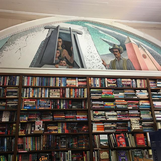 Mural by K. Barrick inside the book store of Old Mesilla. #muralsofmesilla #newmexico #lascruces #muralsoflascruces #mesilla #murals