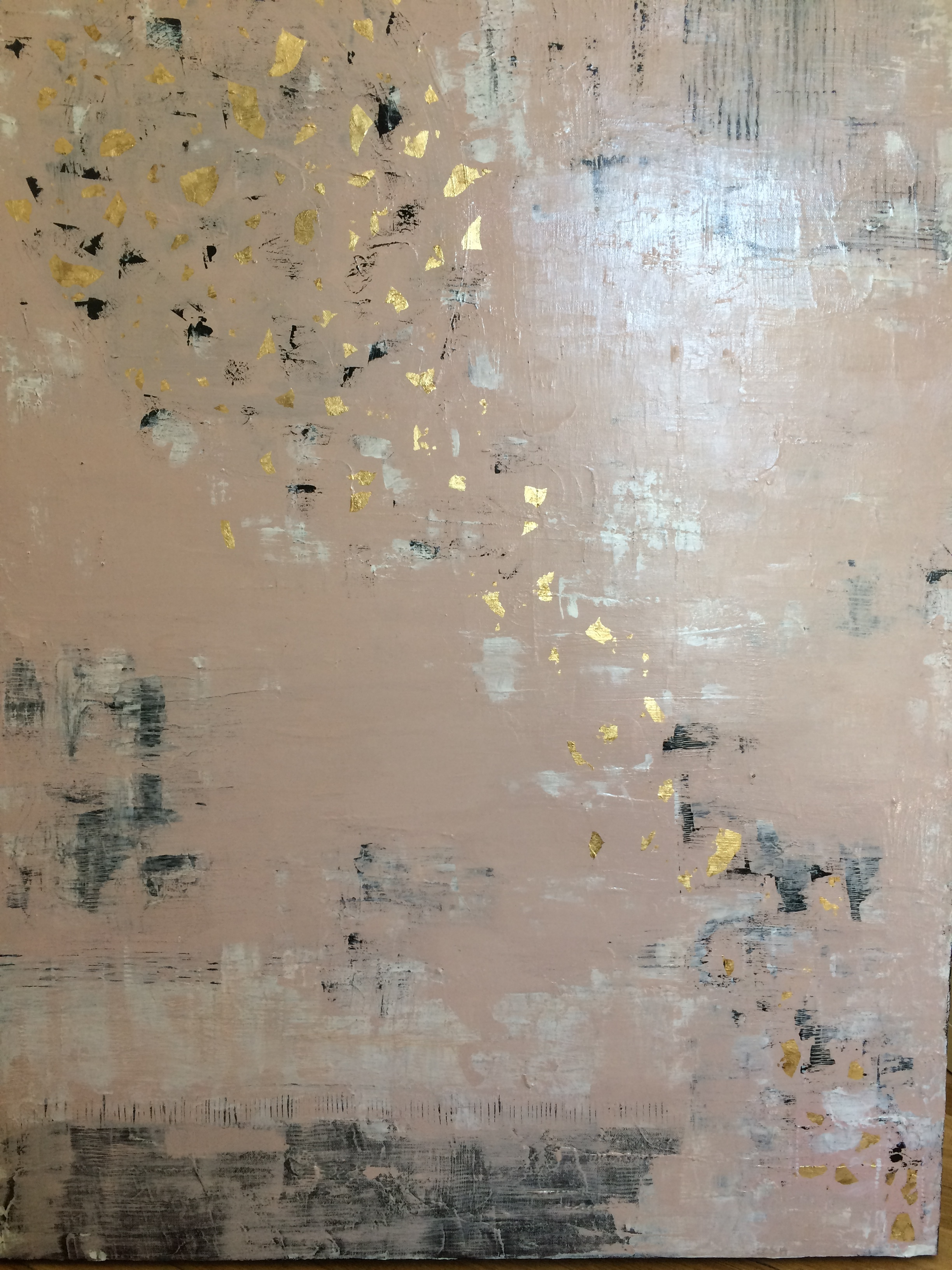 ACRYLIC ABSTRACT     GOLD LEAVES     40x30     $850