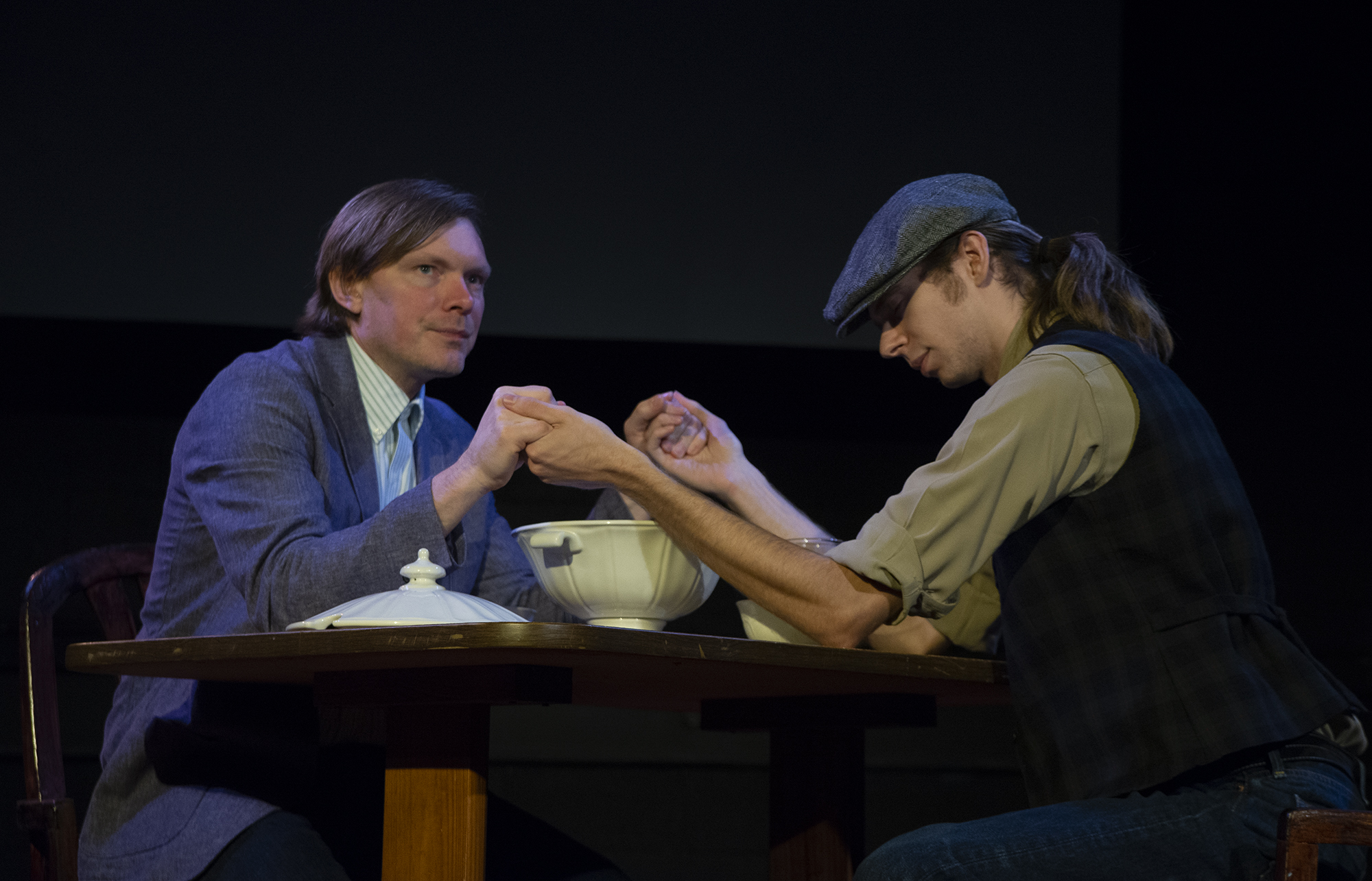 Leon (Jason Williams) and Charles (Adam Olson) in a scene from  In the Assassins' Garden.