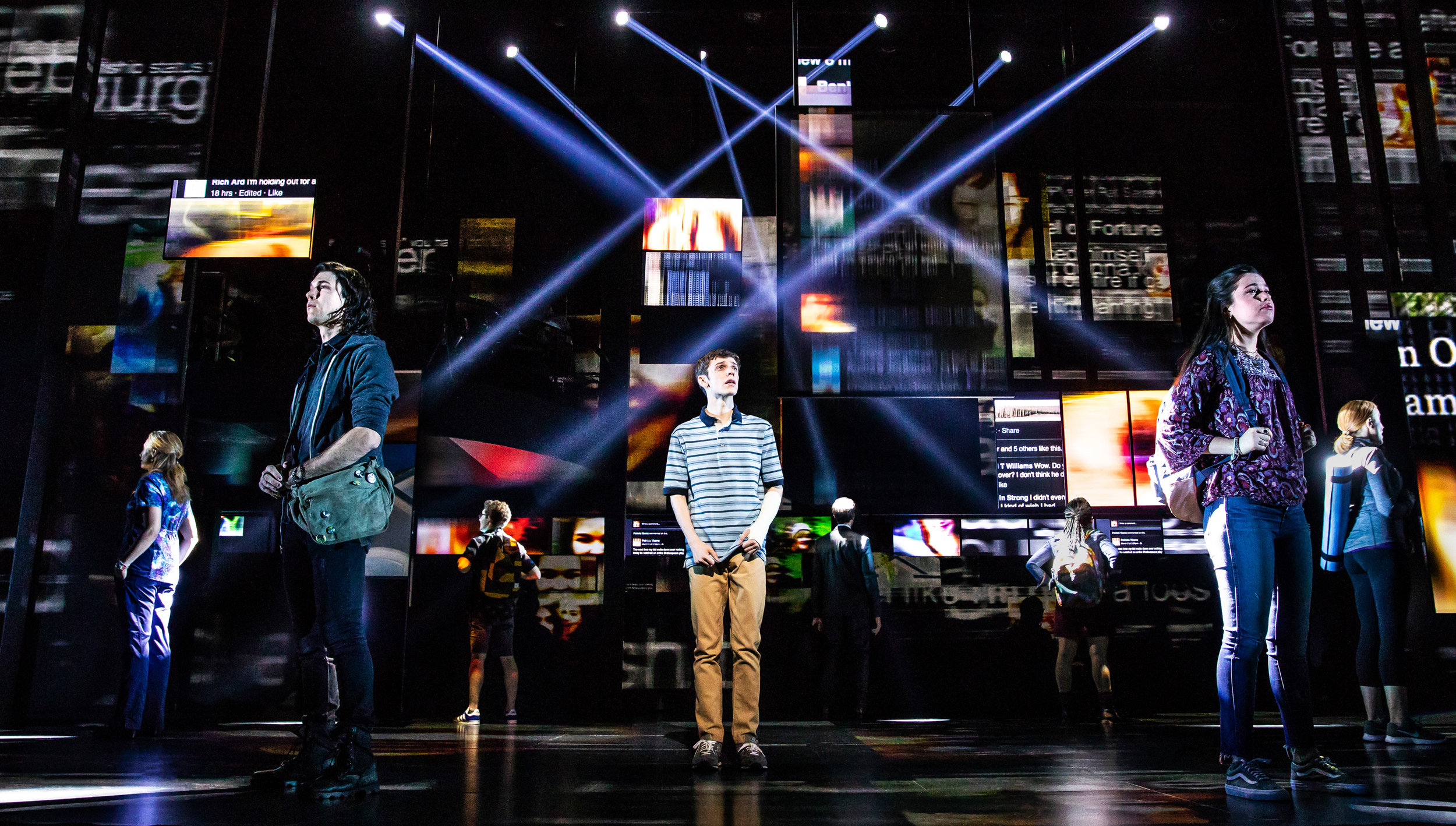 Ben Levi Ross (center) and the company for the national tour of  Dear Evan Hansen.