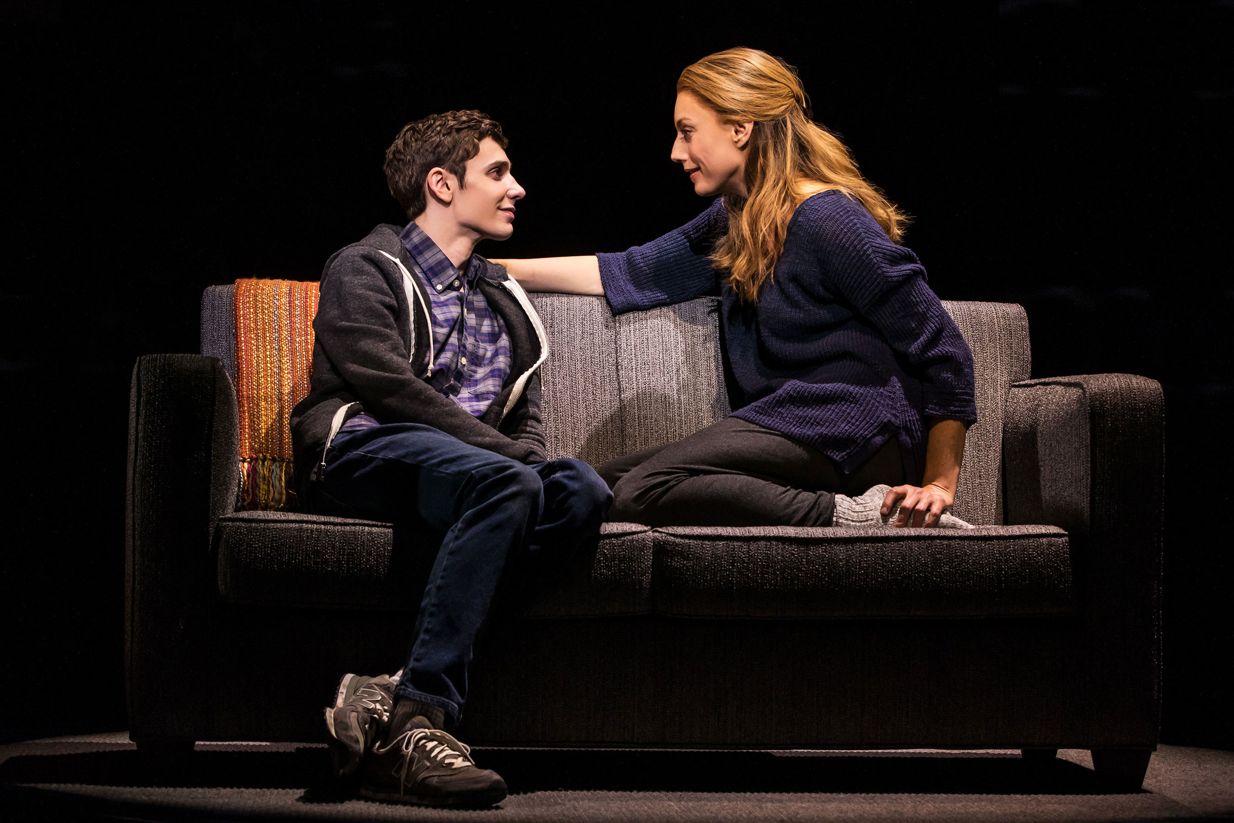 Ben Levi Ross and Jessica Phillips in the national tour of  Dear Evan Hansen.