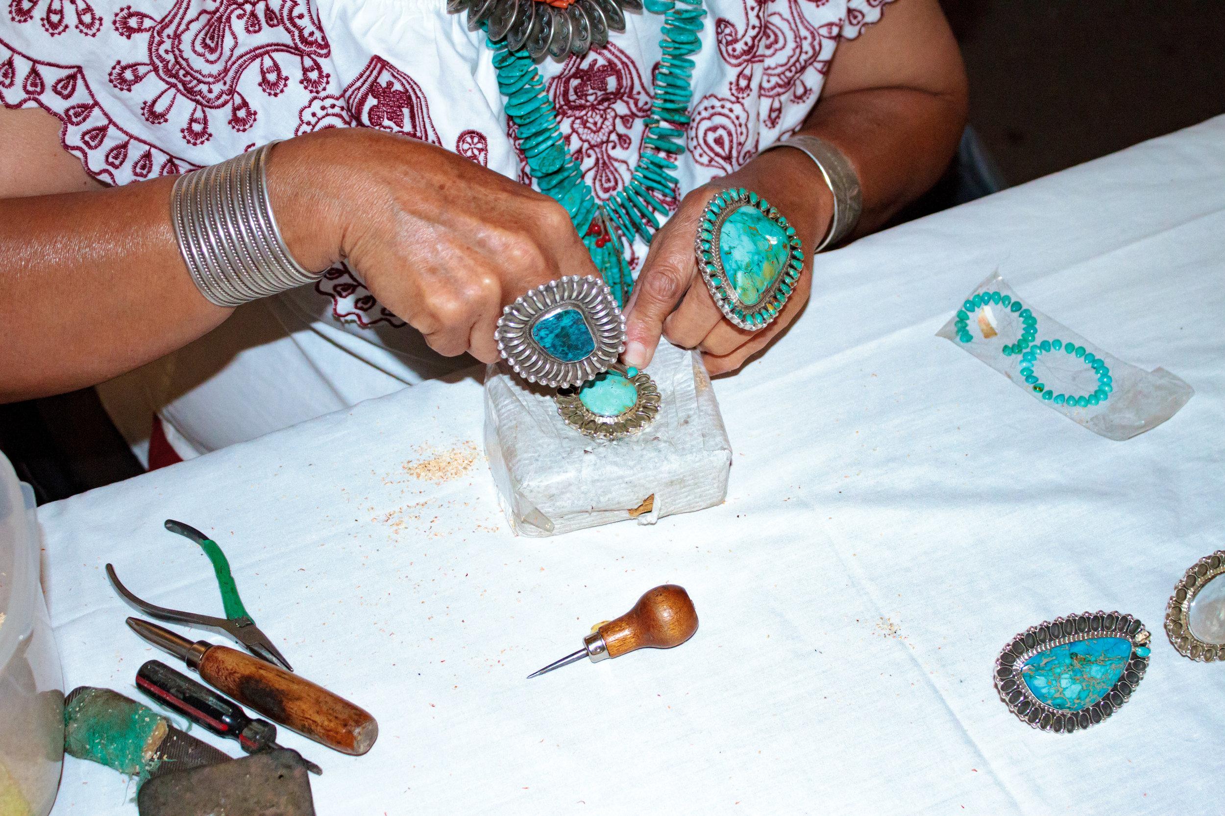 Demonstration by Navajo Jewelry Artisan Tonya June Rafael.