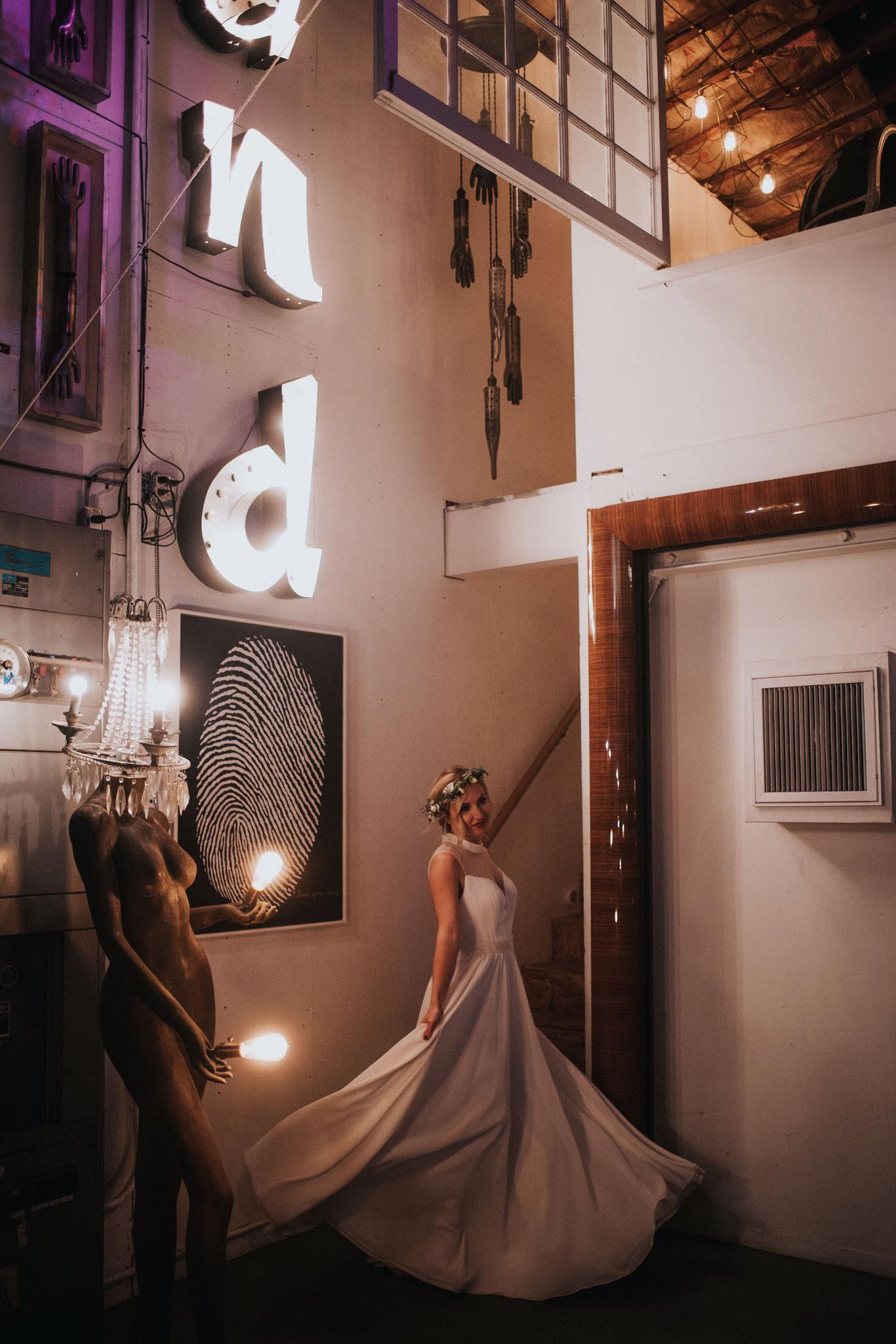 Bride twirling in her gown before her ceremony in Hollywood