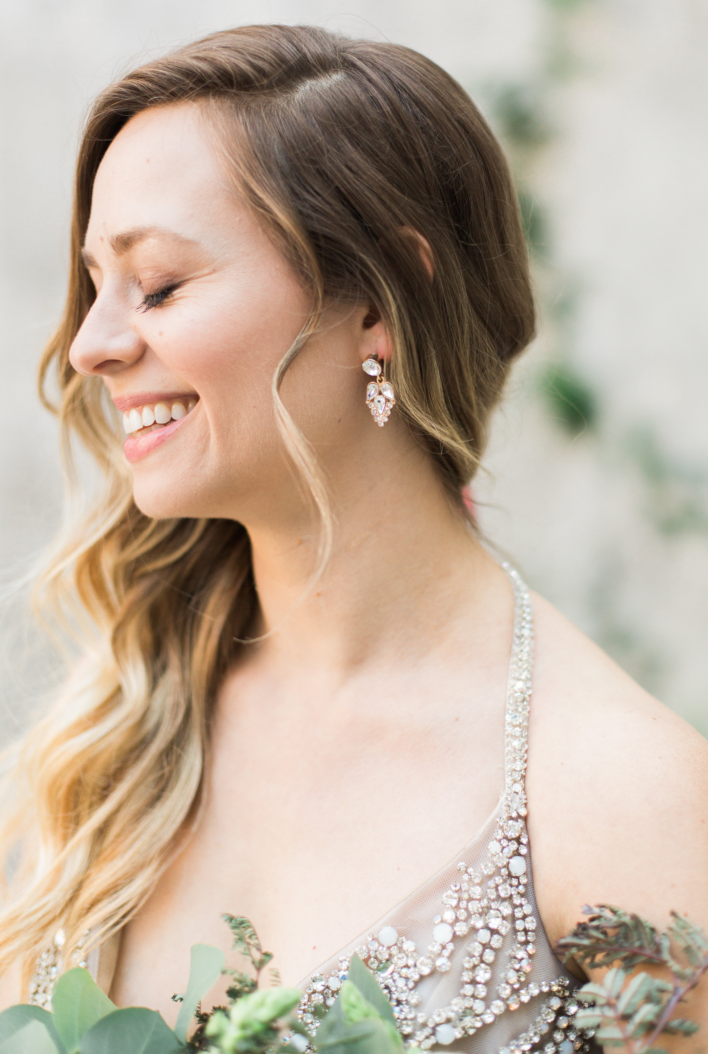 Soft and romantic hair and makeup for this Long Beach bride