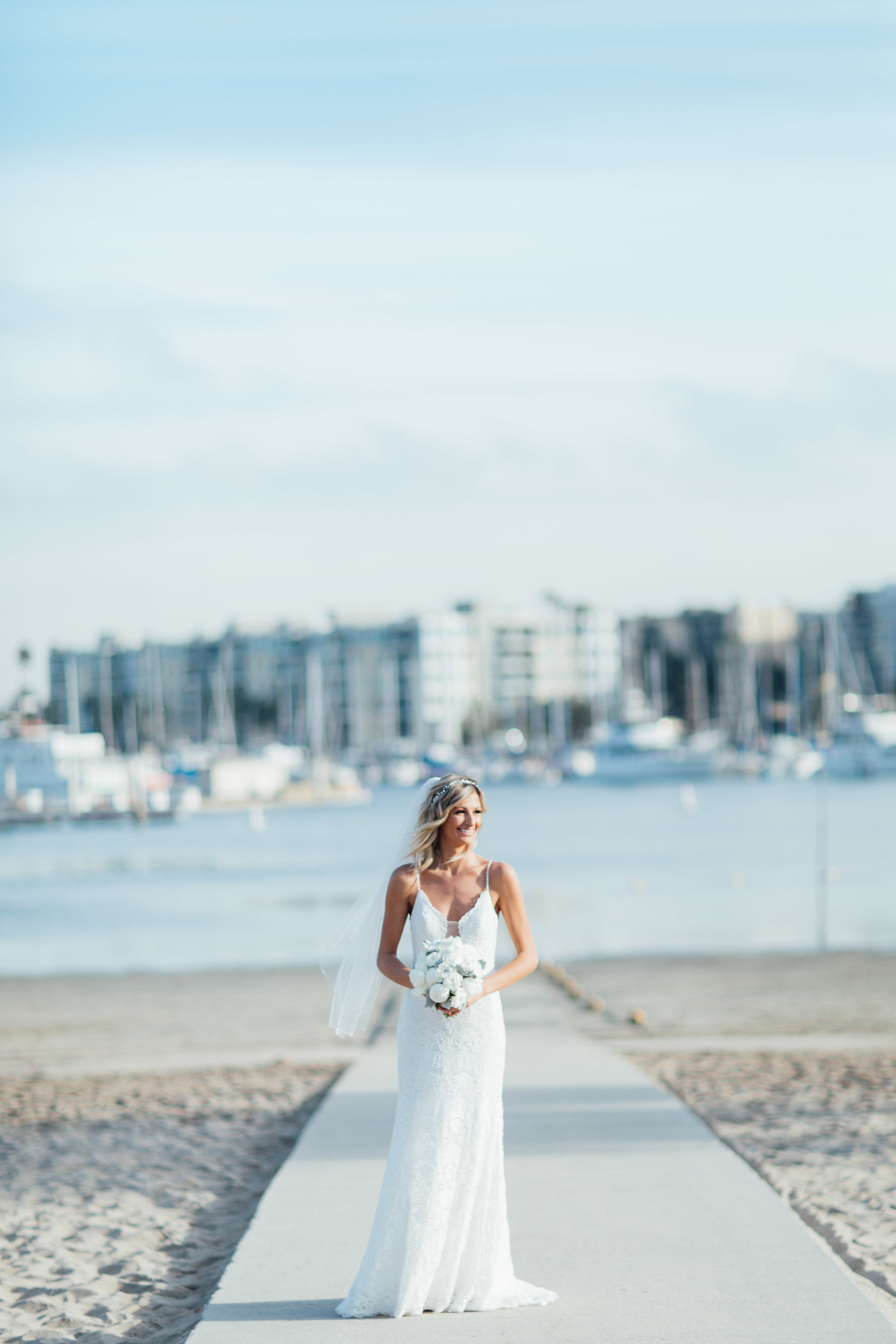 Bride before her ceremony in Marina Del Ray