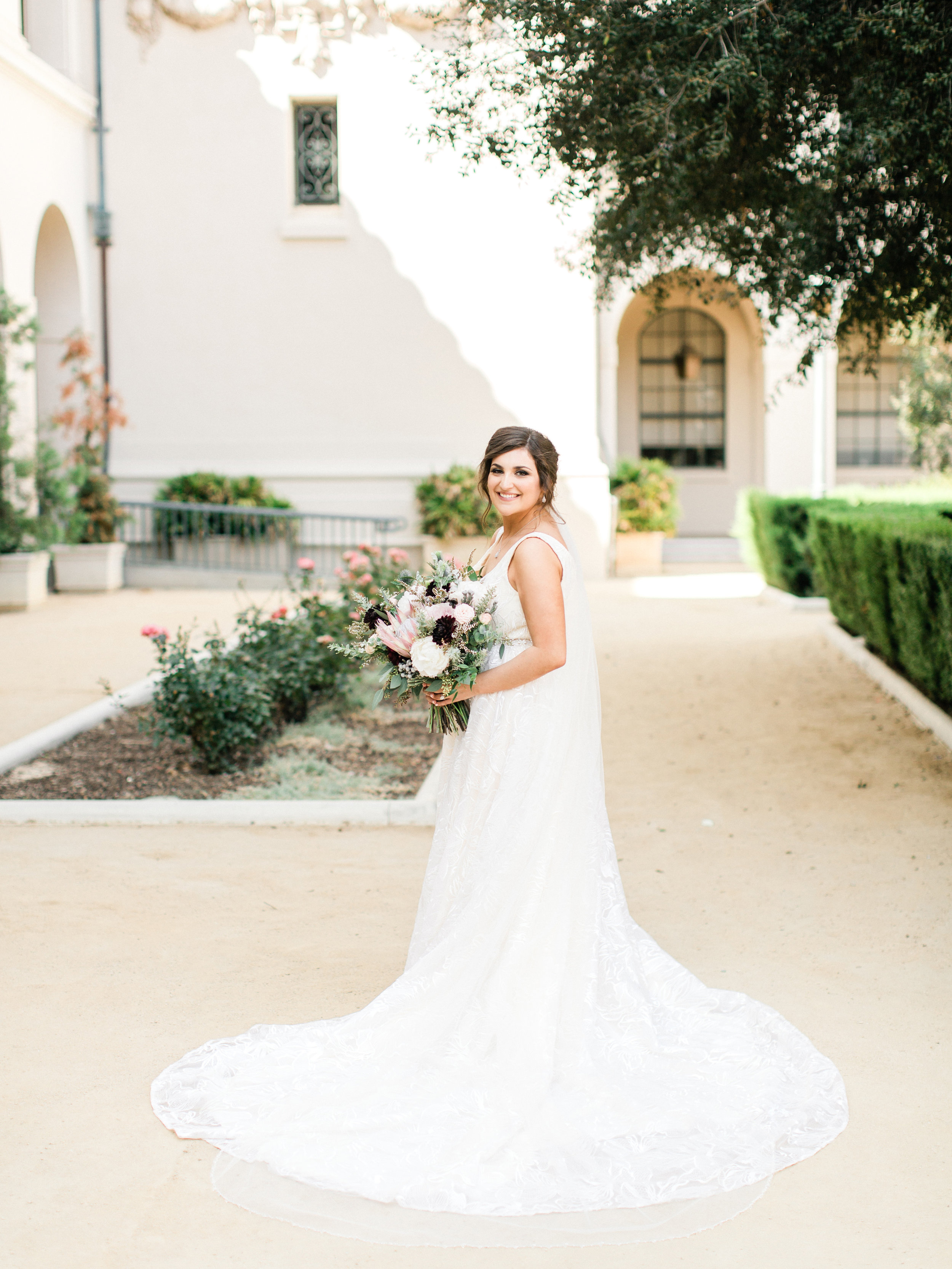 Stunning white dress for Pasadena bride-to-be