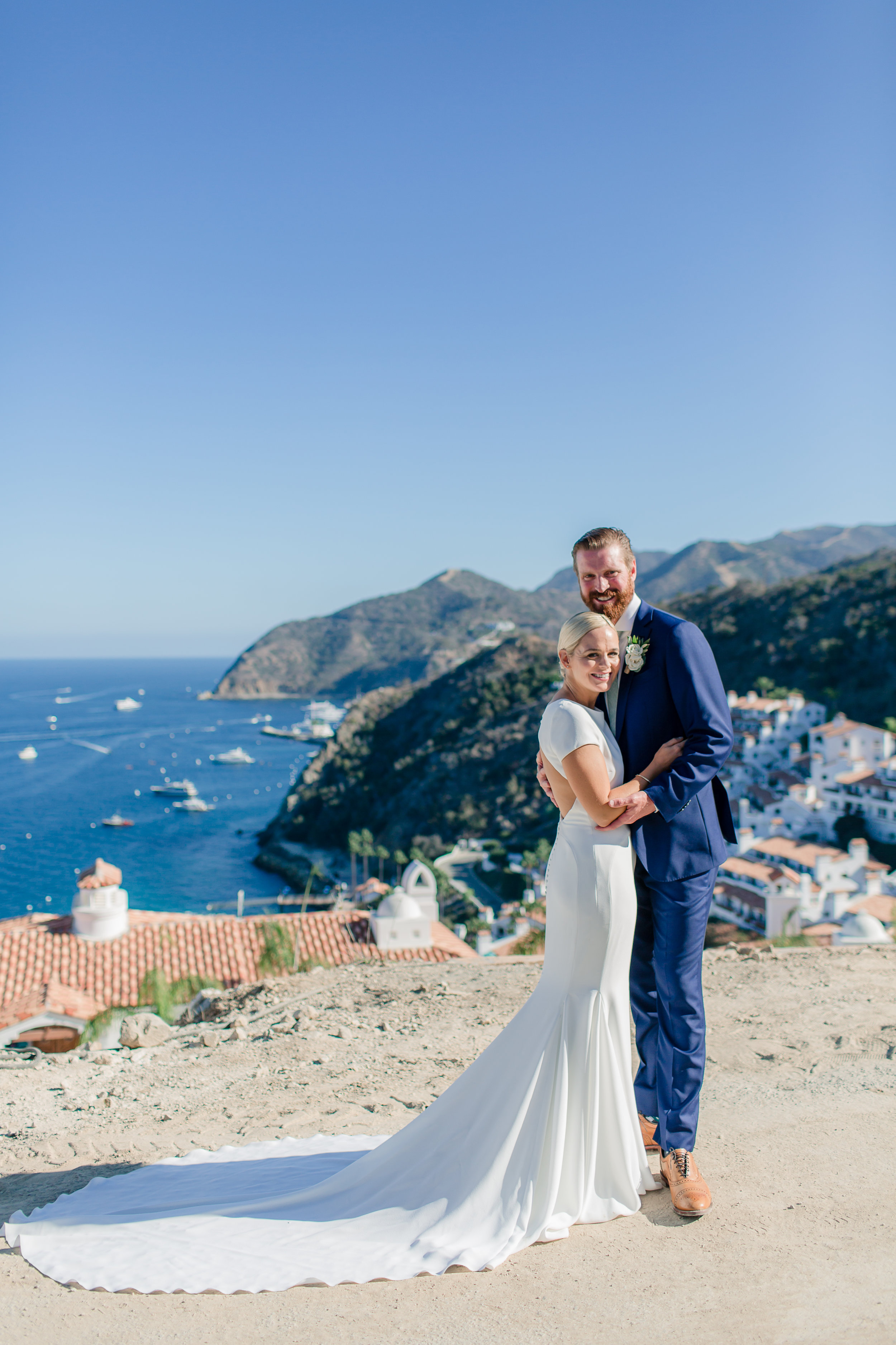Happy couple vacations in Catalina Island after wedding