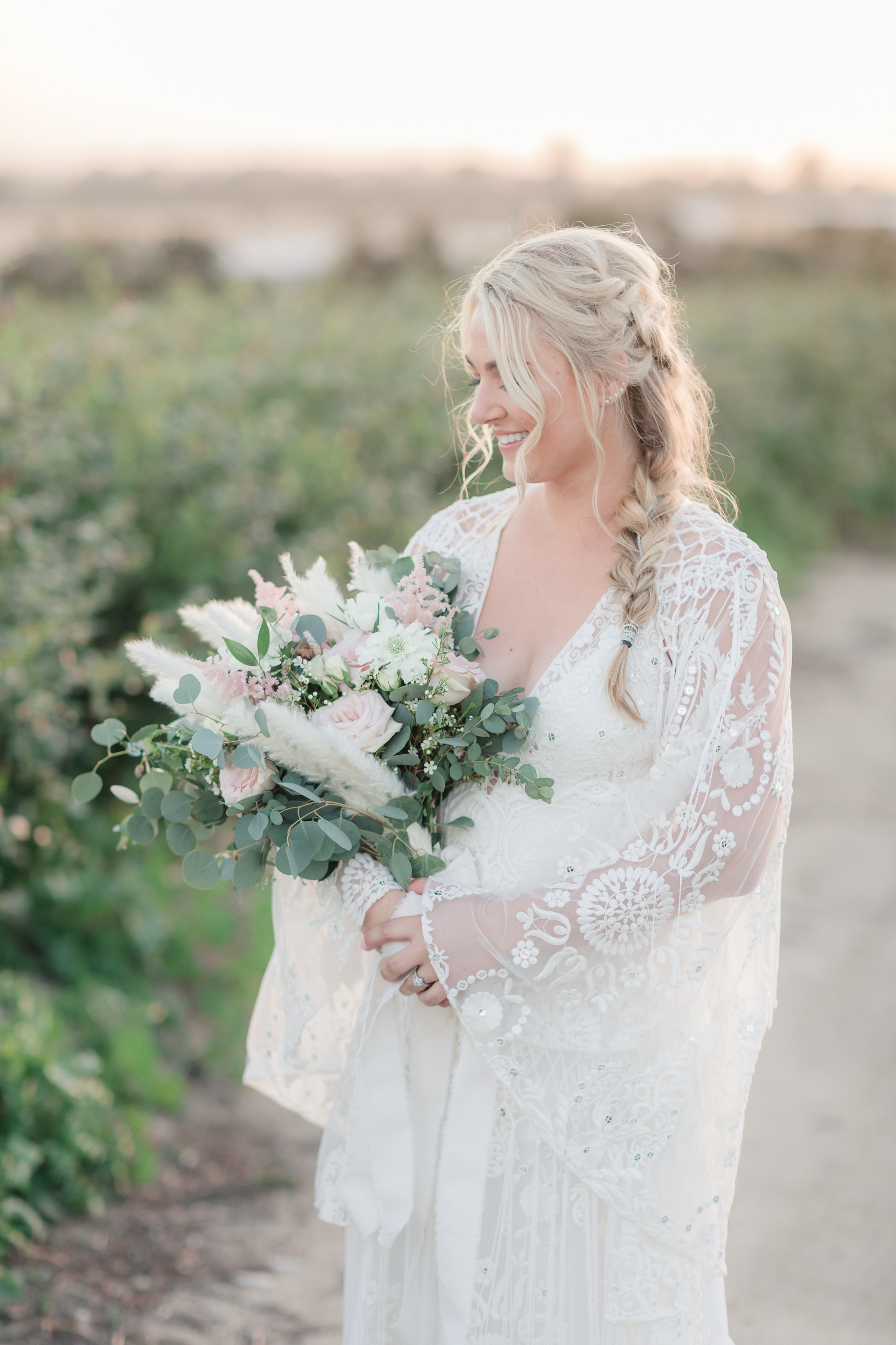 Bridal beauty in her lace, boho gown