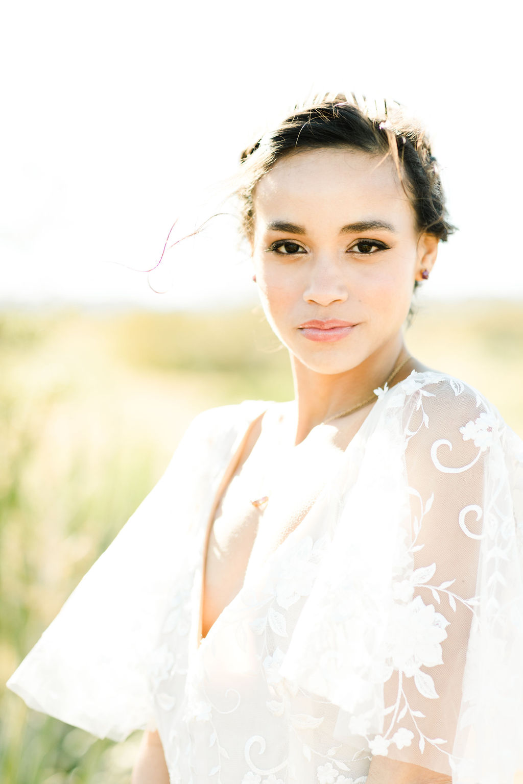 Natural makeup look for this glowing Palm Springs bride