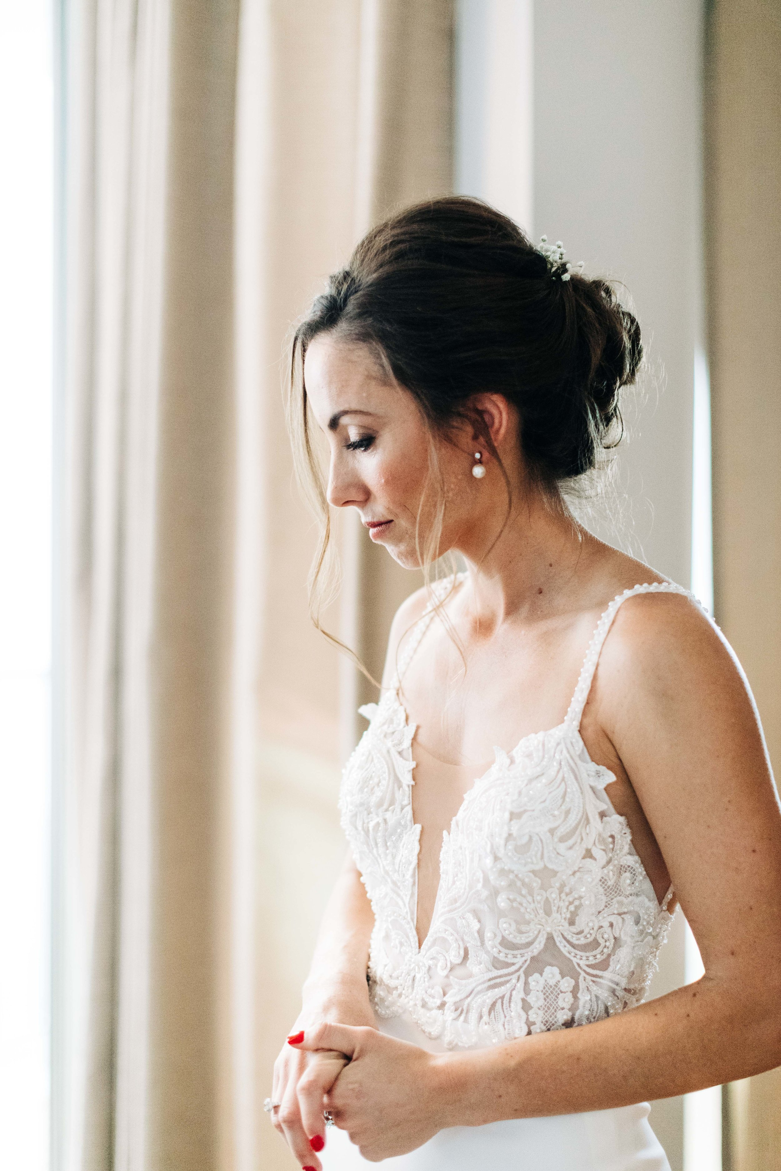 wedding day hair and makeup look complete for this LA bride