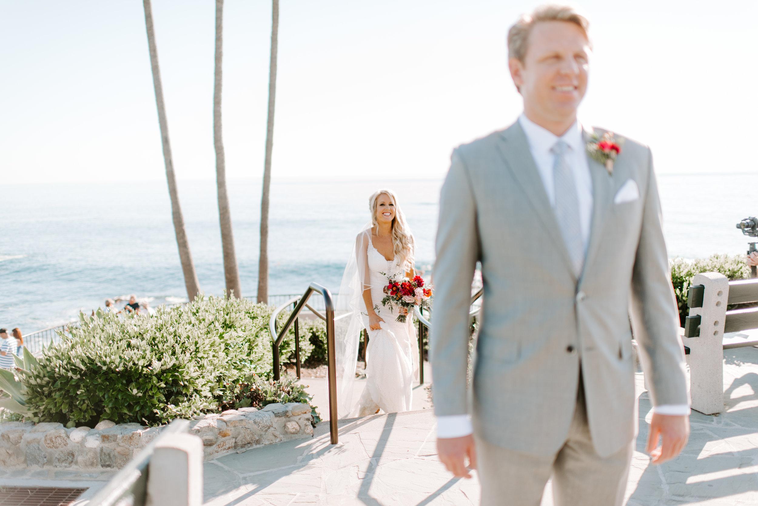 Laguna Beach first look before the wedding