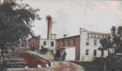 1904 The Bowman Dairy provided milk by horse drawn carriages to the town of Barrington. The original building is now the Ice House Mall & Village Shops.