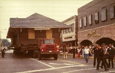 Barrington Train Station moving down Main Street to the Ice House Mall, circa 1978 to become a part of Chessie's Restaurant.