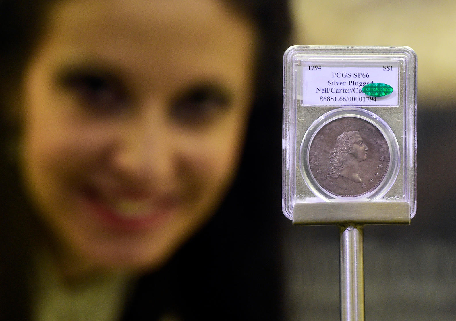 The Flowing Hair Liberty Dollar, a silver coin from 1794 worth more than 10 million dollars .jpg