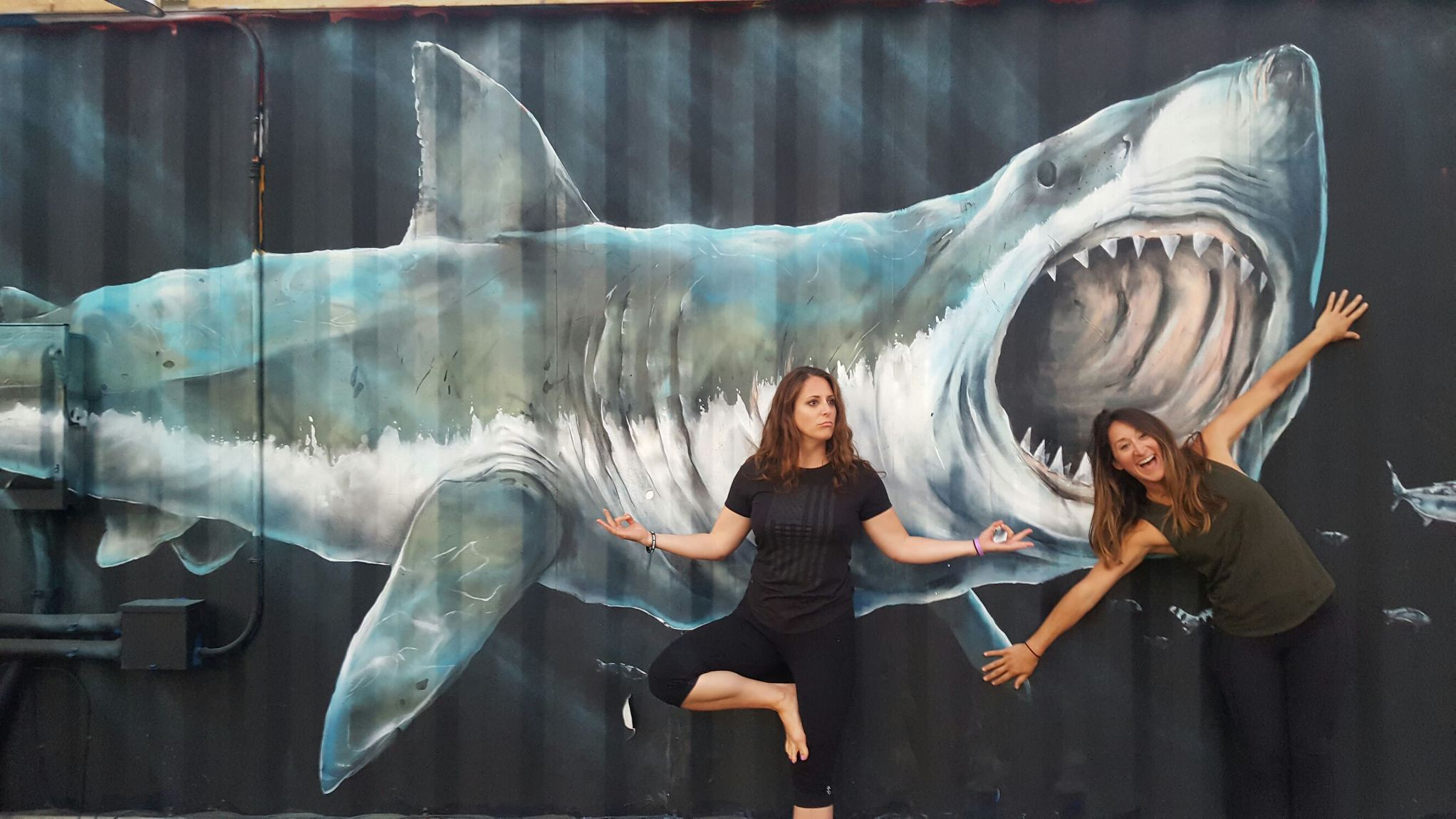 This is me: trying to be ZEN with a freakin GREAT WHITE on my back. This picture is like, the perfect representation of what our family's going through.
