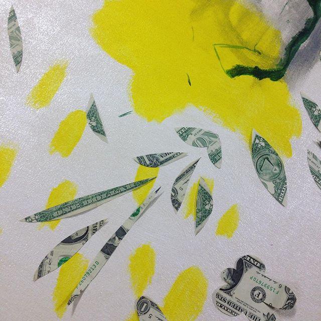 Art so good it's made of money. @philbertopia #wip  Opening 4/16 5:30-9 pm  #fuckscape #richkidsofinstagram #artshow #JerseyCity #nyc #contemporaryart #money #gold #realtorlife #superficial #superreal #moneyoverbitches #moma #monday