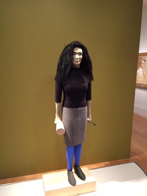 "Marisol,  Judith Shea, polystyrene foam, balsa wood, felt, paper clay, paint, steel and synthetic hair, 69 5/8 × 24 1/2 × 13"" (2014), Smithsonian National Portrait Gallery"