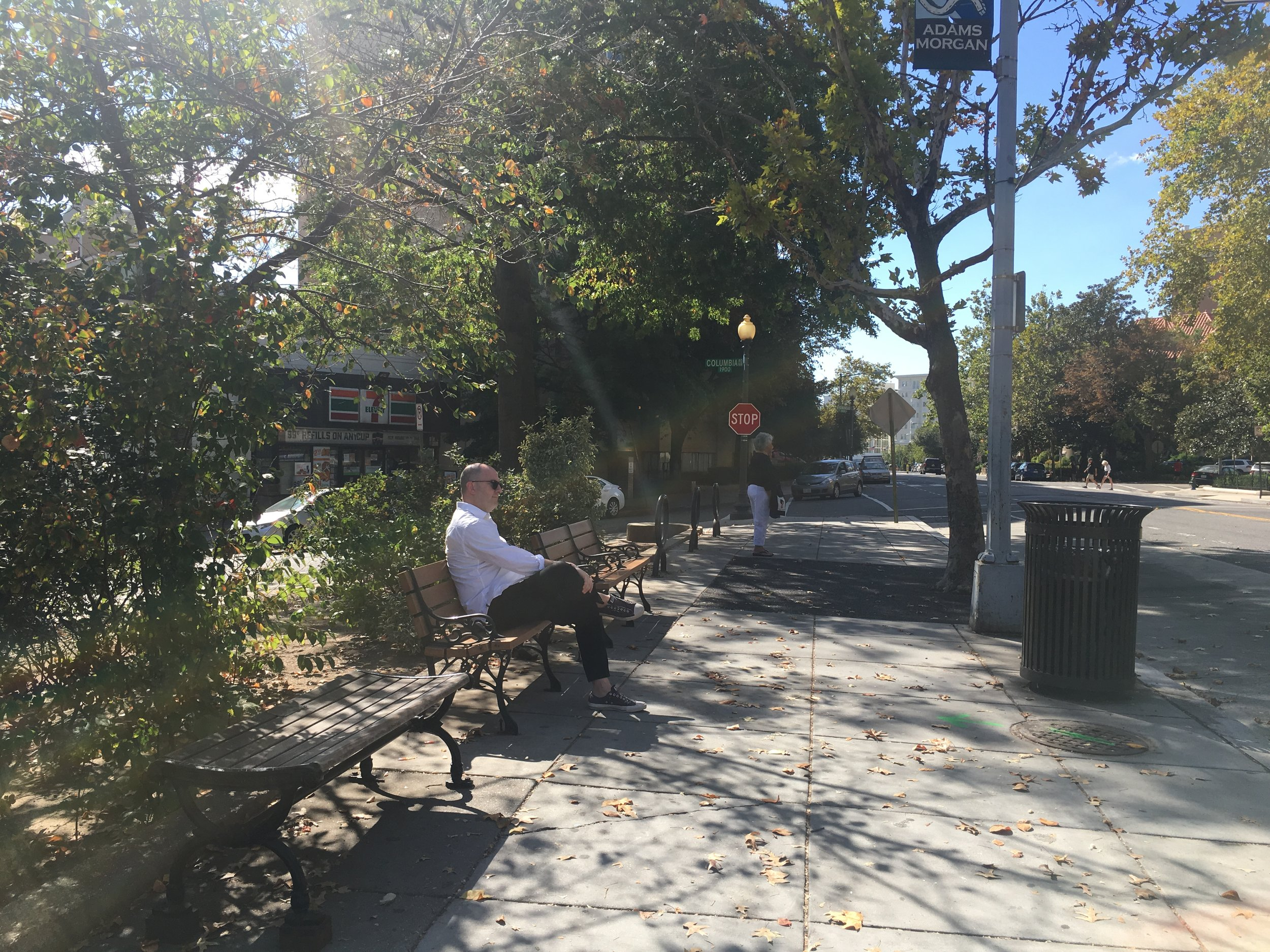 James Huckenpahler at the corner of 19th St NW & Columbia St NW in Adams Morgan, Washington, DC. October 2017; Digital image.