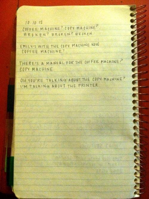 Wiseman, Valerie. 10.10.12. 2012; Spiral Notebook, Pilot G-2 Ultra Fine 0.38mm Gel Pen, Digital image.