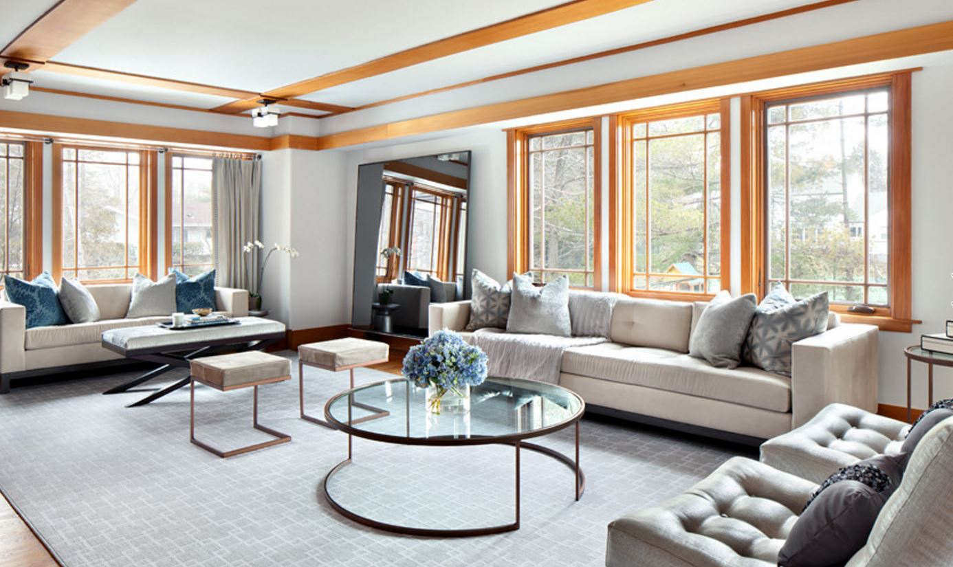 Hudson Sofa ,  Darin Stool ,  Bleecker Cocktail Table ,  Betty Mirror