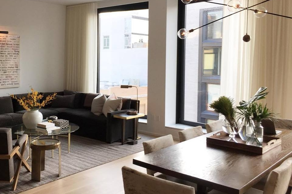 Glenn Ban Design  Shown: Madison Sectional, Madison Upholstered Chairs, Bedford Table
