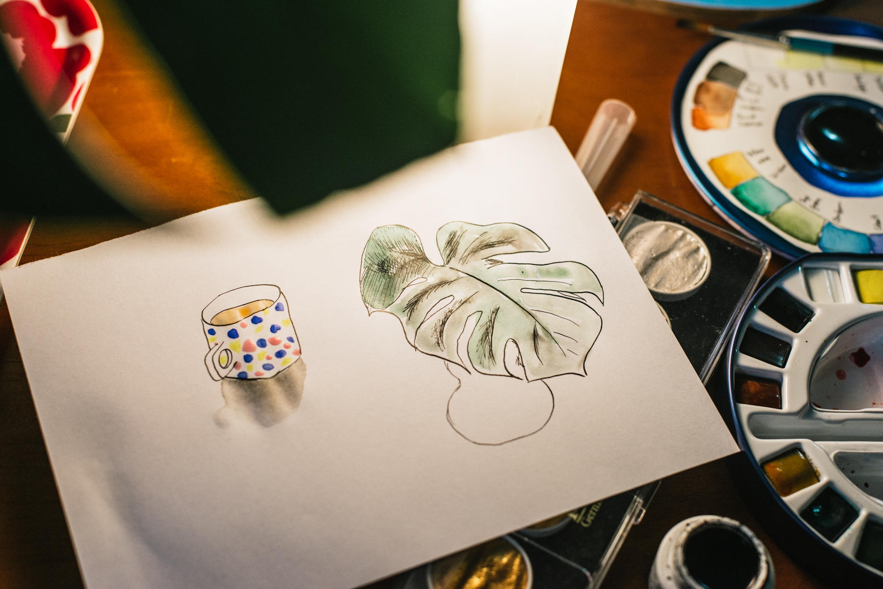 I drew my cup of tea and the leaf.