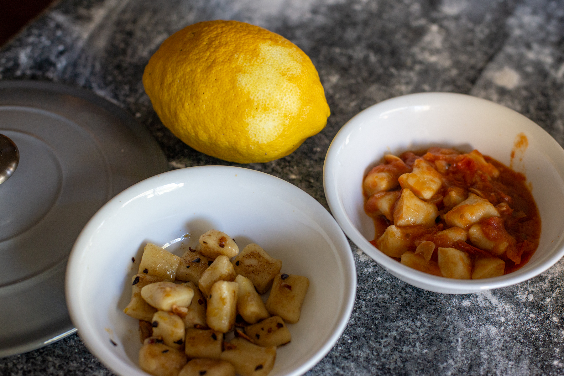 Lemon, garlic and chilli on the left, tomato on the right.