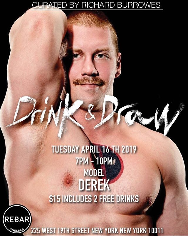 Don't miss hot Model Derek Tuesday April 16th 7 pm Drink & Draw 😍🍸✍🏻💪🏻. #drinkanddraw #hot #drawing #drinking #gay #gaylife #gaymen #gaynyc #rebarchelsea #hotman #muscles #hot #handsome #hot #hotguys @rgbphotos @derek.chase.9406