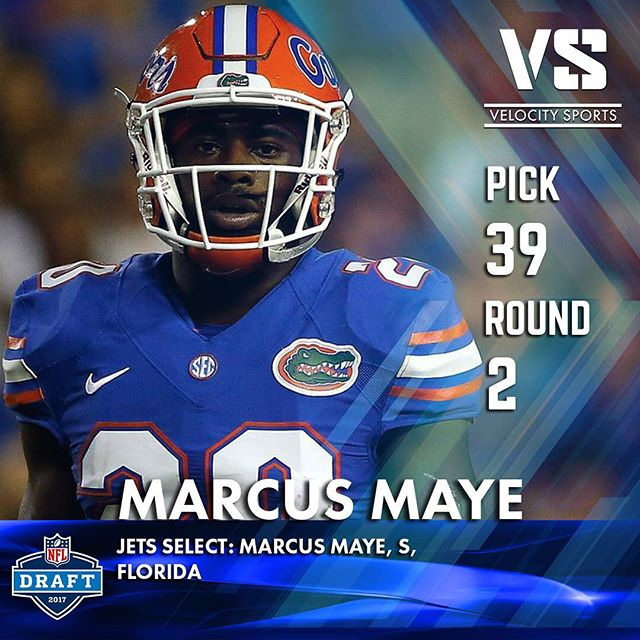 Jets select: Marcus Maye, S, Florida .. .. .. #DraftDay #NFL #NFLdraft #NFLdraft2017 #Football  #Sports #VelocitySports #collegefootball #jets #nyjets #jetup #Florida #gators #FloridaFootball #floridagators #gogators