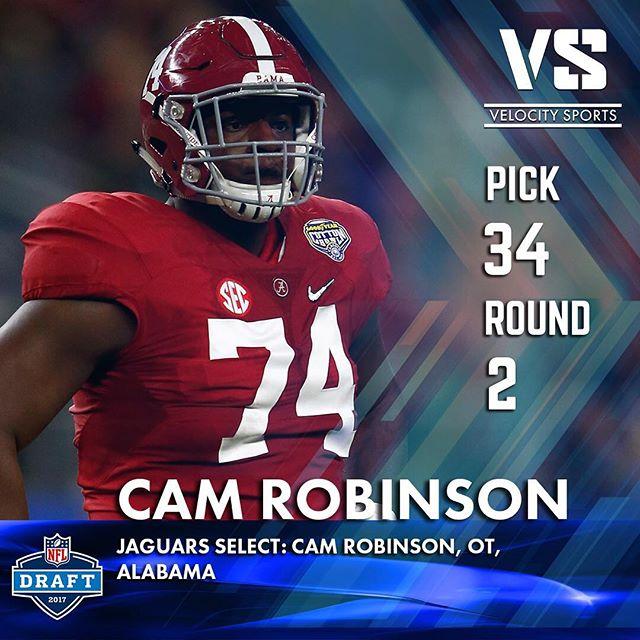 The Jacksonville Jaguars select: Cam Robinson, OT, Alabama .. .. .. #DraftDay #NFL #NFLdraft #NFLdraft2017 #Football  #Sports #VelocitySports  #Jacksonville #Jaguars #JacksonvilleJaguars #Alabama #CrimsonTide #rolltide #CrimsonTideFootball  #AlabamaFootball