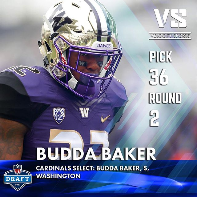Cardinals select: Budda Baker, S, Washington .. .. .. #DraftDay #NFL #NFLdraft #NFLdraft2017 #Football  #Sports #VelocitySports  #Cardinals #arizonacardinals  #arizona #Washington #PurpleReign #UWFootball #UW #UniversityofWashington #Pac12 #azcardinals #BeRedSeeRed #CardsDraft #BirdGang #TheCards