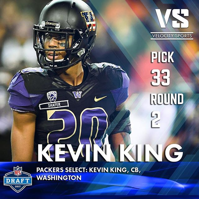 The Green Bay Packers select: Kevin King, CB, Washington .. .. .. #DraftDay #NFL #NFLdraft #NFLdraft2017 #Football  #Sports #VelocitySports  #Packers #GreenBayPackers #GreenBay # #Lambeau #LambeauField #PackersDraft #gopackgo #Wisconsin