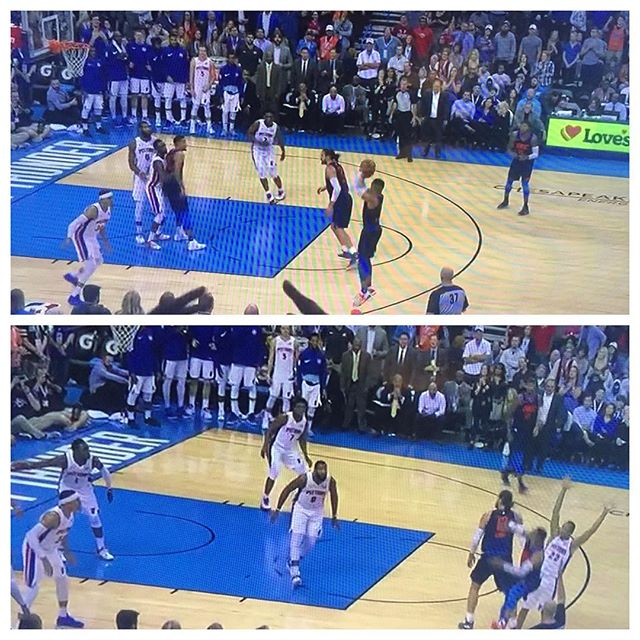 Paul George WIDE open on two missed 3's by Westbrook late 4th vs #Pistons ... one nearly hit top of backboard the other an air ball #okcthunder #thunderup #oklahomacitythunder