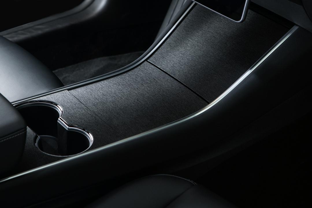 Model 3 brushed black console