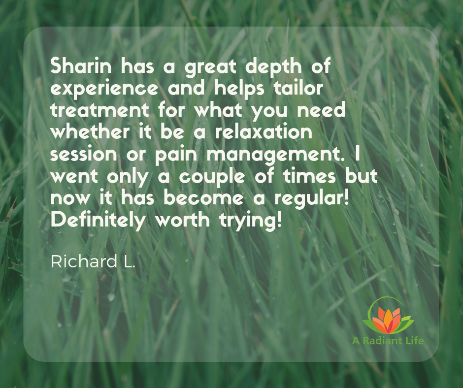 Sharin has a great depth of experience and helps Taylor treatment for what you need whether it be a relaxation session or pain management. I went only a couple of times but now it has become a regular! Definite.png