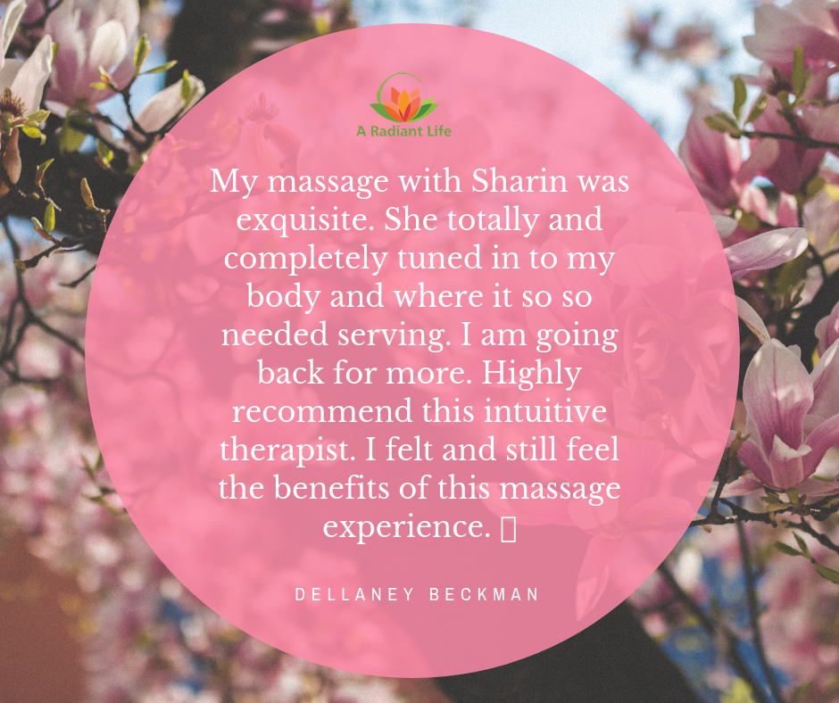 My massage with Sharin was exquisite. She totally and completely tuned in to my body and where it so so needed serving. I am going back for more. Highly recommend this intuitive therapist. I felt and still feel.png