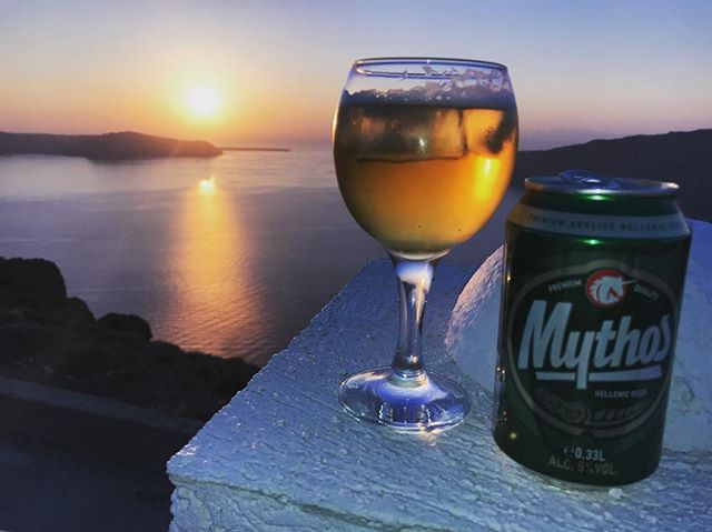 You're in Plato's Atlantis.  Mythos please.  #calderamemories #santorini . . . #drinklocal #lesnyc #craftbeer