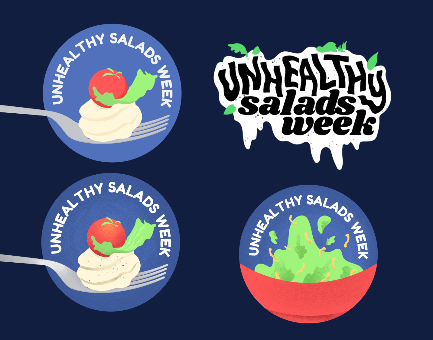 "Illustrated badges for for  The Takeout's  series,  ""Unhealthy Salads Week"""