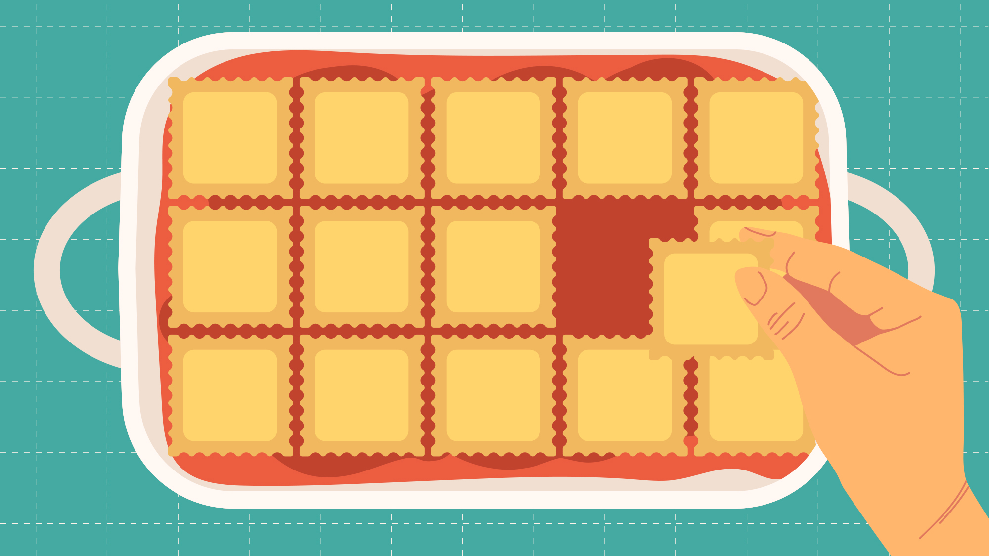 "Illustration for The Takeout article,  ""If you can shingle ravioli, you can make lazy lasagna"""