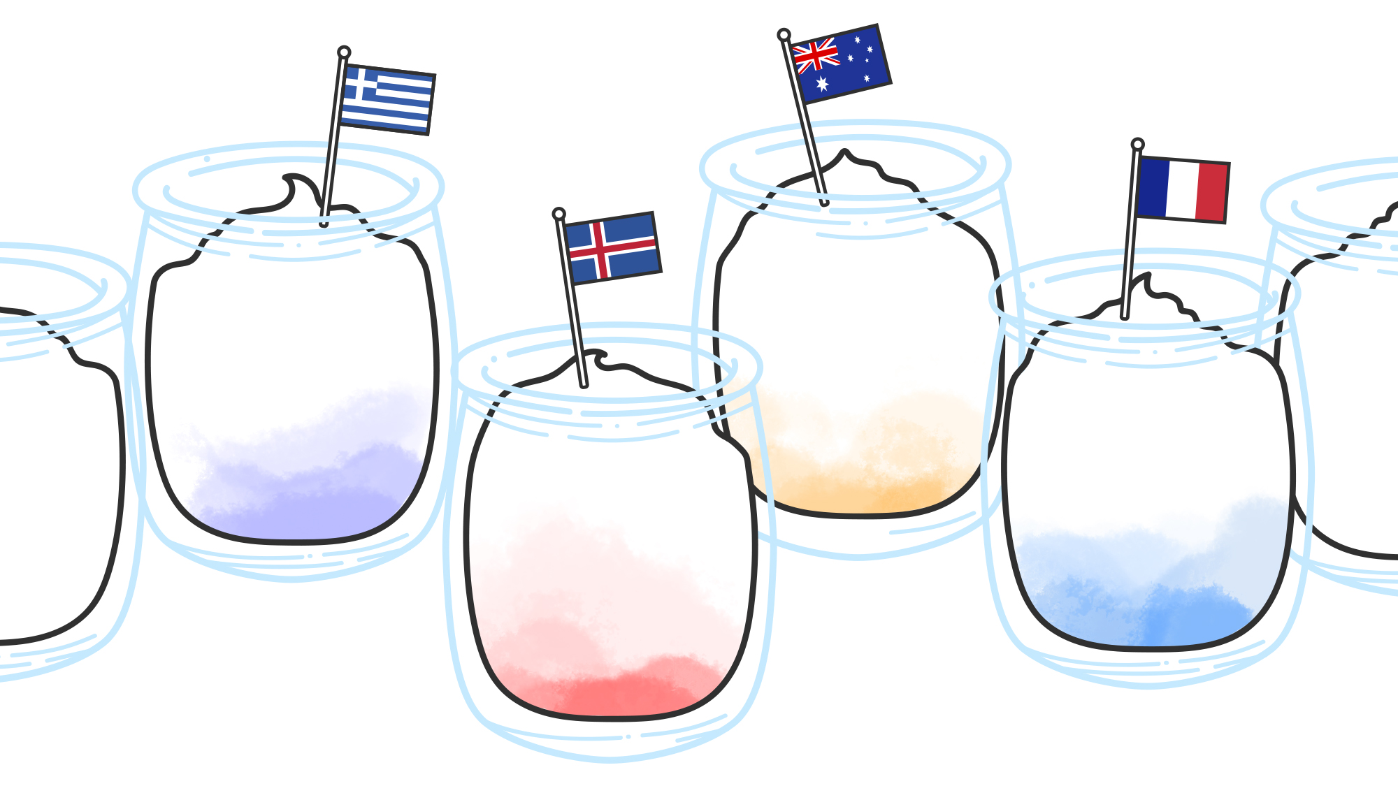 "Illustration for  The Takeout  article,  ""What's the difference between all those international yogurts?"""
