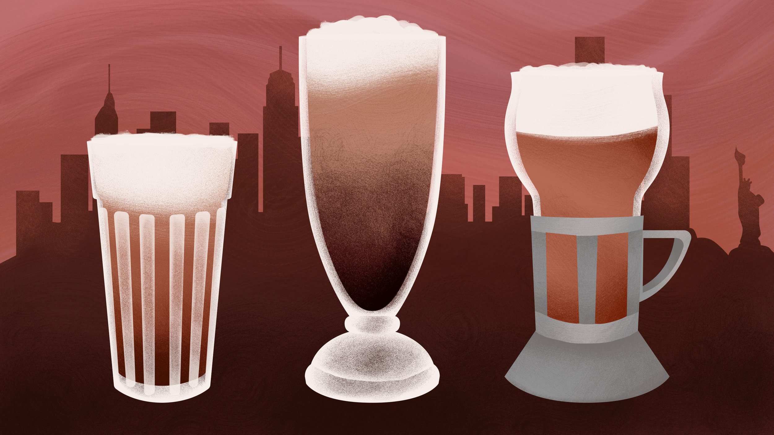 "Illustration for The Takeout feature,  ""What's a chocolate egg cream? (And why does it contain neither egg nor cream?)"""