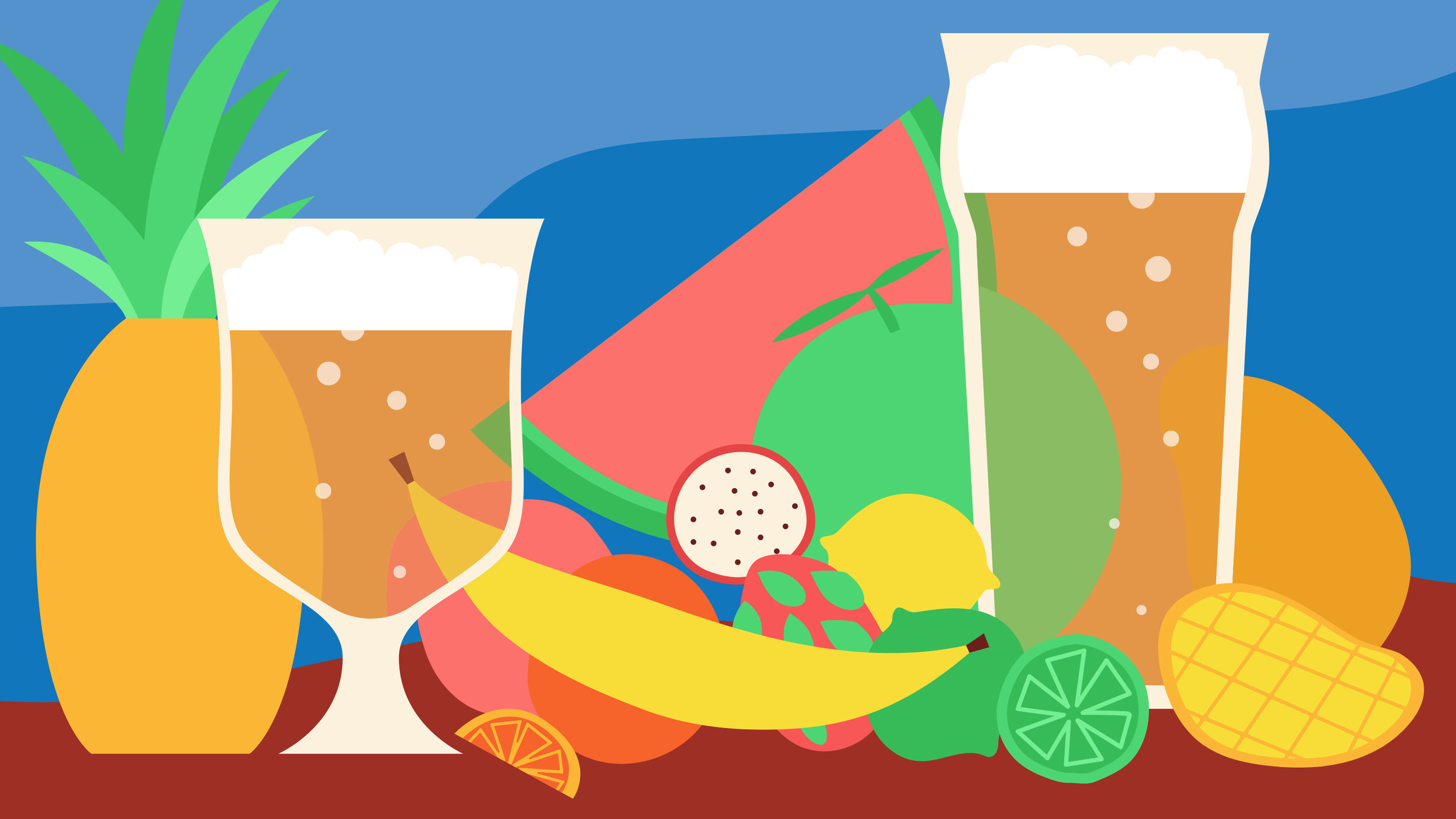 "Illustration for  The Takeout  article,  ""  This summer is all about tropical beers inspired by fruit and tiki cocktails  """