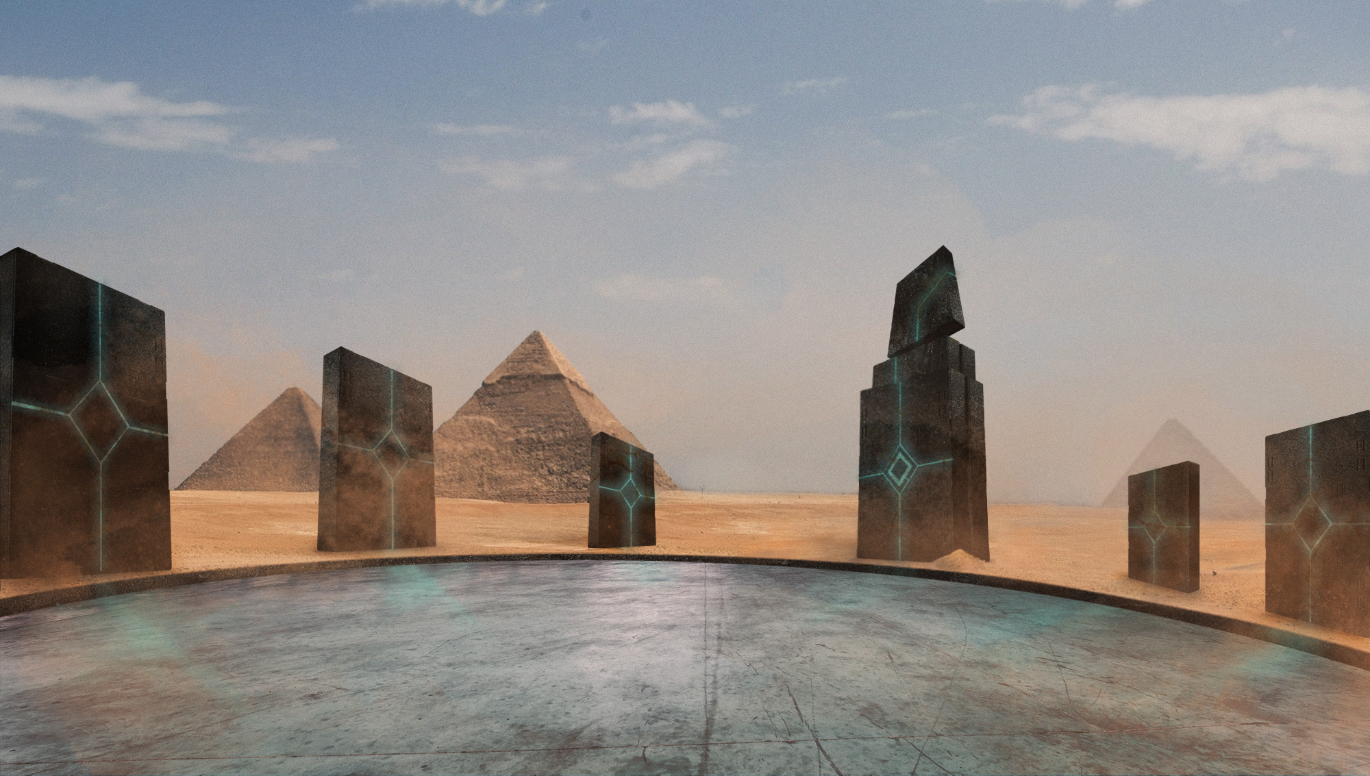 "Photoshop composite for  The Onion  article,  ""Controversial Theory Suggests Aliens May Have Built Ancient Egypt's Intergalactic Spaceport"""