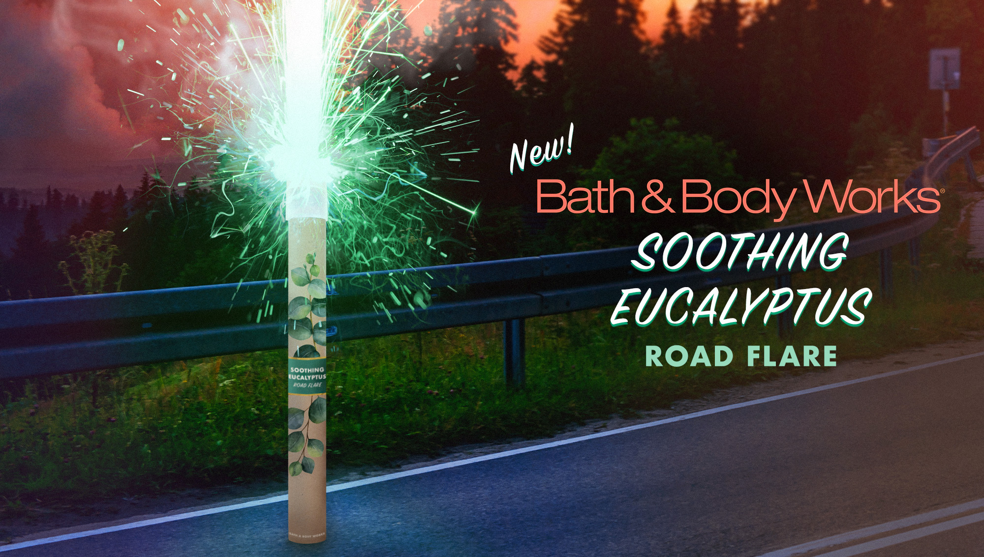 "Photoshop composite for  The Onion  article,  ""Bath & Body Works Unveils New Soothing Eucalyptus Road Flare"""