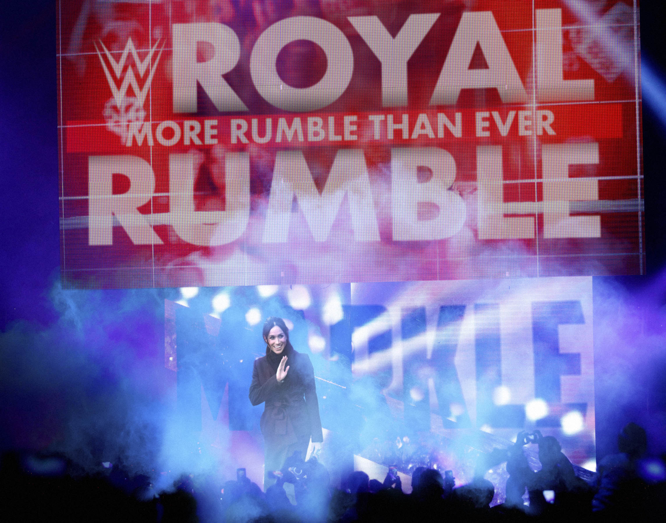 "Photoshop composite for  The Onion  article,  ""Meghan Markle Makes Stunning Surprise Entrance At Royal Rumble"""