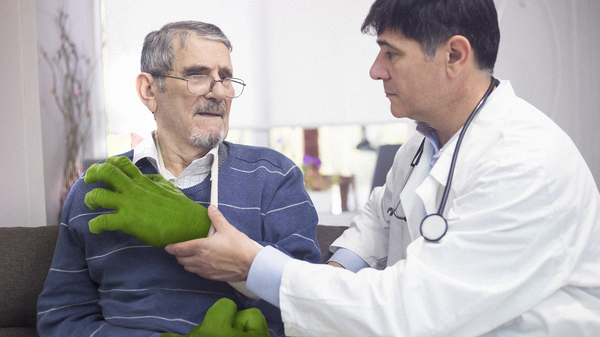 "Photoshop composite for  Clickhole  article,  ""  Medical Breakthrough: When This Man's Hulk Hands Were Destroyed In A Car Accident, Doctors Built Him State-Of-The-Art Prosthetic Hulk Hands  """