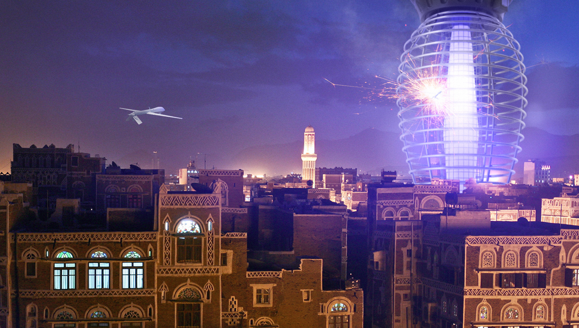 "Photoshop composite for  The Onion  article,  ""  Yemen Unveils New 80-Story Drone Zapper  """