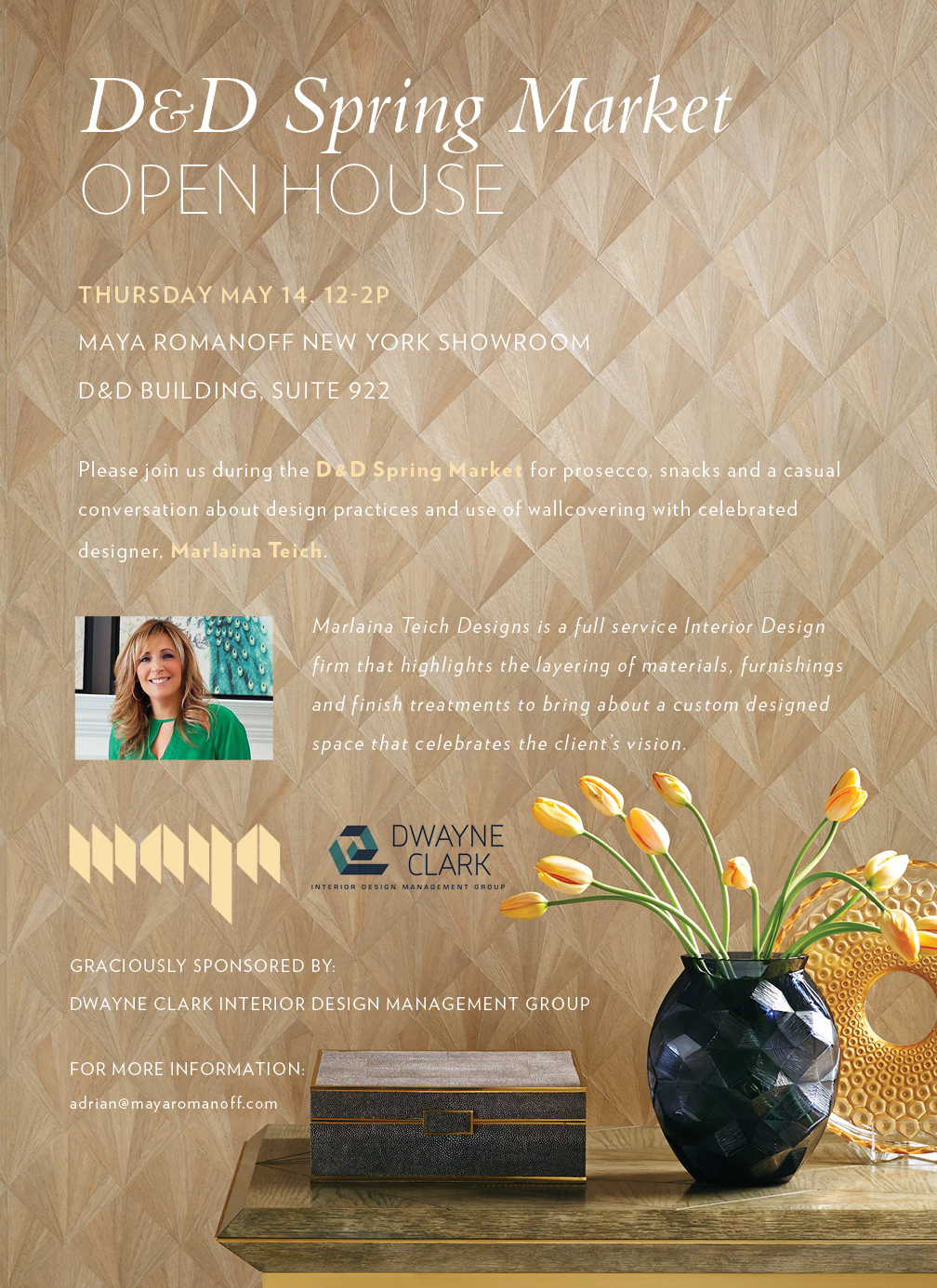 Email flyer for a MAYA tradeshow event